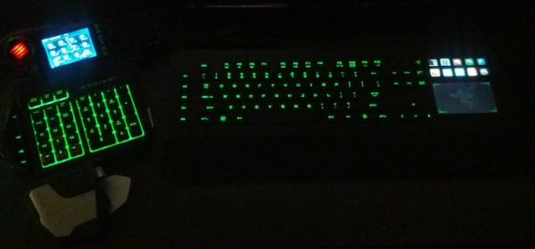 Razer Deathstalker (right) and the Mad Catz STRIKE7