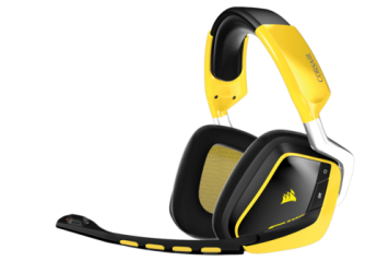 Corsair Void RGB Wireless gaming headset, in Bumblebee colors.